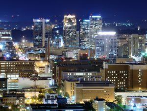 Picture of Birmingham skyline at night for the contact page of the Matt Nelson Neuro Lab